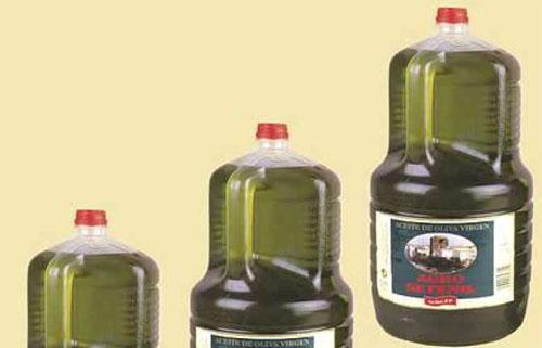Aceite de oliva virgen de Setenil en garrafa de 5 litros. La foto corresponde a un aceite filtrado.