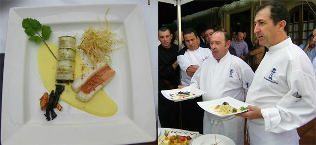 Fernando Córdoba y Andrés Astorga (con bigote) cocineros de El Faro de El Puerto en el encuentro de cocineros de El Puerto. Junto a ellos el plato de rascacio