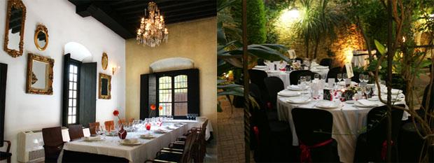 Vistas de un comedor y el patio del restaurante Albarizuela: Foto cedida por Hermanos Vélez
