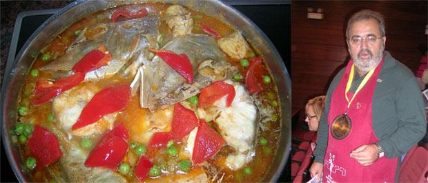 El plato de rubio y su autor, Pepe Pérez Moreno. Foto: Cedida por el Grupo Gastronómico Gaditano.
