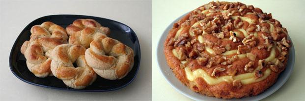 Roscos de nata de Antonia Butrón y bizcocho de nueces y vainilla de Ana de Consuelo. Foto: Lola Monforte
