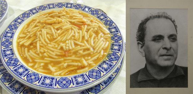 Fideos con lenguado y el inventor del plato Eugenio Espinosa Morales. Foto: Cosas de Comé