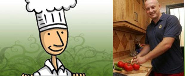 Javier Cabanas prepara una receta. Junto a él la mascota de su página. Foto: Cedida por la Voz de Cádiz.