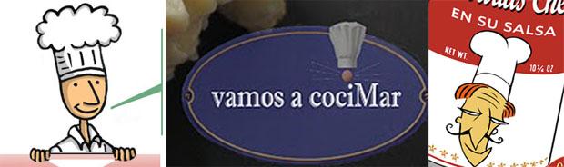 Logotipos de los tres blogs gaditanos premiados: Javi Recetas de Chiclana y Vamos a Cocimar y Falsarius Chef de El Puerto de Santa María