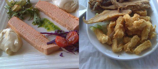 Dos de los platos del restaurante Puente Hierro, el paté de cabracho y el surtido de pescado frito. Foto: Cosas de Comé
