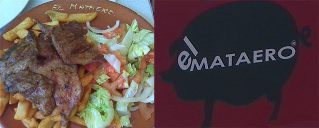"""Plato de secreto ibérico con """"ensalá y un viaje de papas"""" de El Mataero y su logotipo que preside, en grandes dimensiones, sus establecimientos. Fotos: Cosas de Comé."""