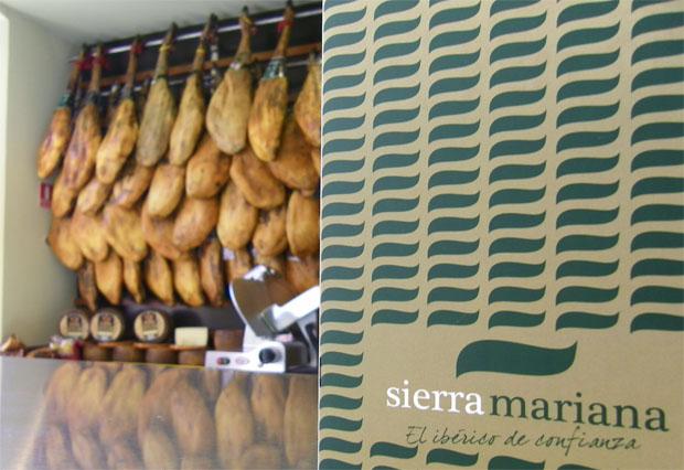 Una amplia colección de jamones preside la entrada a Sierra Mariana. Foto: Cosas de Comé