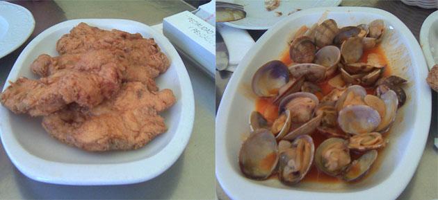 El cazón en adobo y las almejas a la marinera otros dos platos de esos que merecen probarse en Casa Paco Ceballos. Fotos: Cosas de Comé