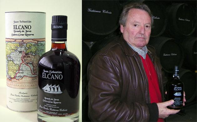 Juan Carlos Gutierrez Colosía con el brandy Juan Sebastián Elcano. Foto: Lola Monforte
