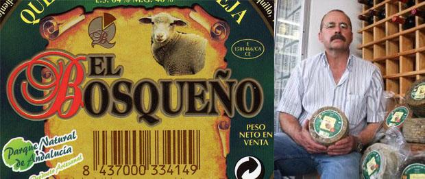Etiqueta de un queso de El Bosqueño y Ramón Gago, que junto a su hermano Miguel Angel, gerencian la quesería de El Bosque