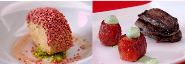 """Micuit con """"crispis"""" de fresa y la carne de canguro, dos de los platos de Diego Marengo. Fotos: Cedidas por Viavai Gastrobar"""