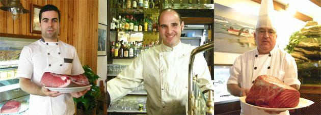 Tres de los cocineros que han creado platos para la ruta: Felipe Verdejo, del Hotel Almadraba, Juan Jesús Mota del restaurante Casa José Mari y Joaquín Olmedo del Hotel Antonio (ganador de la ruta de 2009). Fotos: Cosas de Comé.