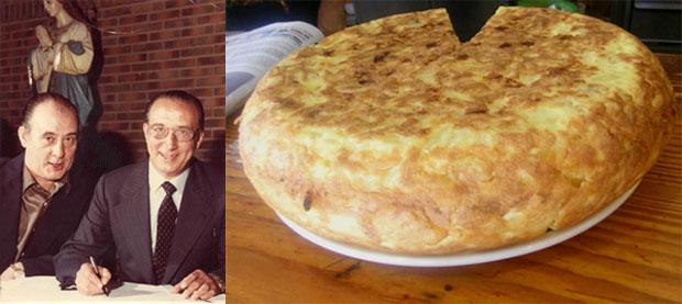 Los fundadores del Maypa, Manuel y Francisco Alzota Medina, en una foto cedida por el restaurante y que se reproduce en su página web. Al lado el famoso tortillón del Maypa.