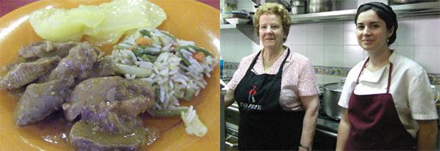 La tapa ganadora en la caterogia de platos tradicionales, lengua en salsa. A su lado las autoras de la receta, Ana Valle y Nazaet Archidona. Foto: Cosas de Comé.