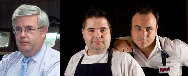 El crítico gastronómico Carlos Maribona, el jefe de cocina de A Poniente, Juan Luis Fernández, también nombrado en el artículo y Angel León.