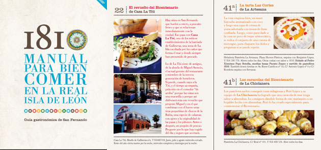La portada de la guía gastronómica y dos páginas interiores