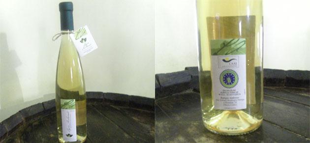 """La botella del nuevo vino ecológico """"Lagar de Ambrosio"""". En la segunda imagen puede verse la contraetiqueta que garantiza que el producto es de crianza ecológica. Foto: Cosas de Comé."""
