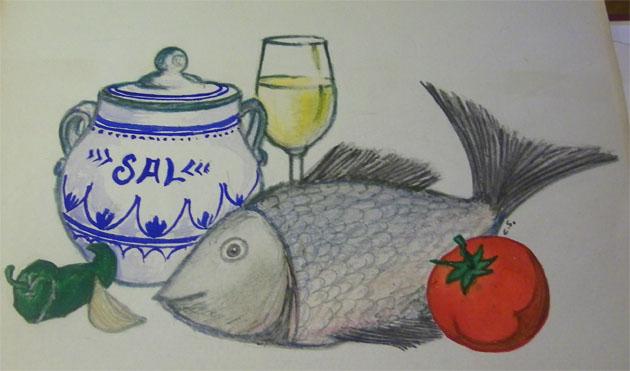 Este es el dibujo original del propio Spínola que serviría para la portada del libro. En la séptima edición se agregó también una botella de aceite de oliva.