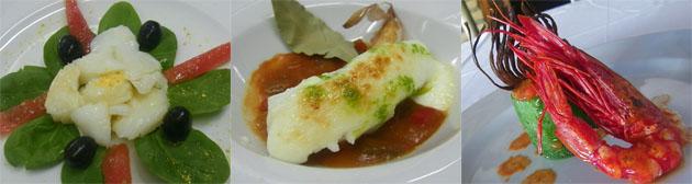 El bacalao glaseado con alioli y la ensalada de morrillo de bacalao con espinacas, dos de las tapas del menú. El tercer plato, el calabacin relleno de pisto y carabineros es una de las tapas de más éxito en el bar. Fotos: Cosas de Comé.
