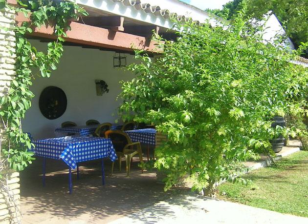 En la terraza de El Llano de las Maravillas, con vistas a las viñas de las bodegas El Sanatorio, se puede comer en la zona techada, o también en el propio cesped. Foto: Cosas de Comé