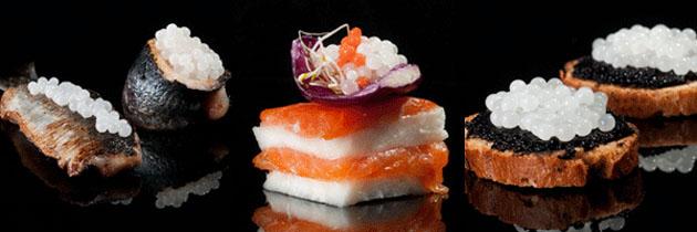 Distintos platos preparados con el caviar blanco, las esferas blancas, el lujo gaditano, que aparecen en las fotos.