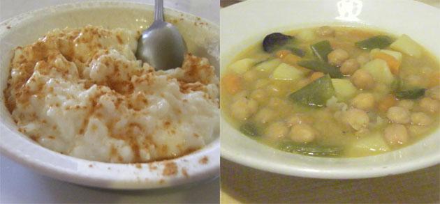 Arroz con leche y garbanzos con verduras, otros dos platos de la pensión. Foto: Cosas de Comé.