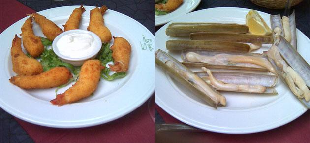Gambas con bechamel y muergos de Puerto Real a la plancha, dos de los platos de La Marina. Foto: Cosas de Comé