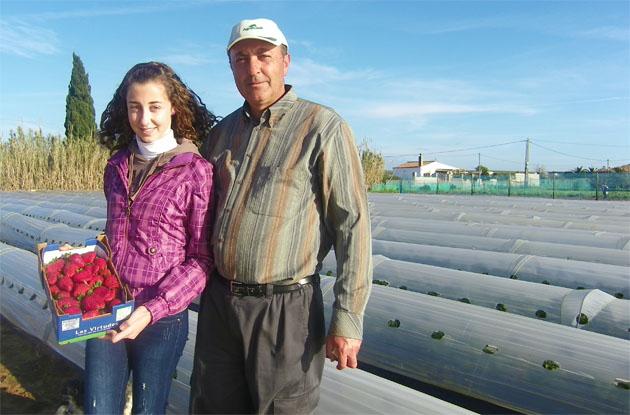 """Juan Moreno con su hija Virginia en el párcela donde tiene plantados los fresones. En la foto pueden verse los """"microtúnels"""" bajo los que crece la fruta. Foto: Cosas de Comé."""