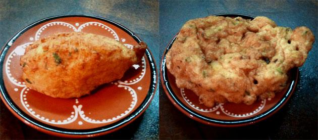 Las curiosas frituras de A Portuguesa, los pastelitos de bacalao y la patanisca, también de bacalao. Fotos cedidas por restaurante A Portuguesa.