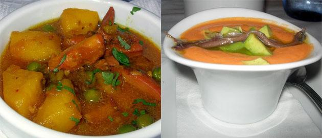 Guiso de chocos con papas y salmorejo con anchoas caseras y aguacate, cocina tradicional e innovadora de la Venta Melchor. Foto: Cosas de Comé.