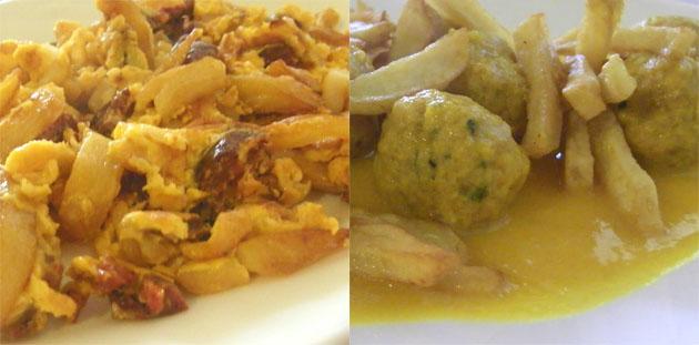 Revuelto de papas con chorizo y albóndigas en salsa, dos platos de la pensión Ana Mari. Foto: Cosas de Comé