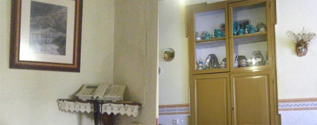 El teléfono colocado a la entrada de la pensión y una de las alacenas del comedor. Foto: Cosas de Comé