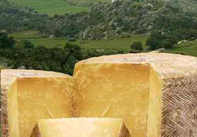 Detalle del cartel anunciador con unos quesos sobre un paisaje de la Sierra de Cádiz.