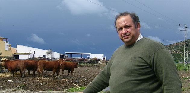 El ganadero Rafael Trujillo Guirola junto a un grupo de vacas retintas reproductoras en su finca de Zahara de los Atunes. Foto: Cosas de Comé.