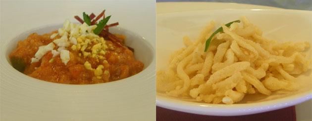La sopa tomate y los chanquetes de chocos dos de los platos de la nueva carta del restaurante La Andana. Foto: Cosas de Comé.